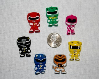Original Power Rangers Inspired Rubber PVC Vinyl Bow Center Magnet Pin Badge Reel Accessories Marvel Pop Culture Superheroes