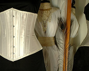 White satin coutil 14 panel underbust corset made to measure