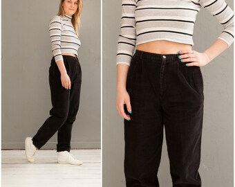 80s Corduroy Pants High Waisted Cords Womens Baggy Pants Tapered Leg Black Pants High Waist 28 Boyfriend Pants Loose Fit Trousers W28 Cords