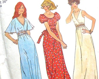 1970s Vintage Sewing Pattern - Maxi Length Gown Flutter Sleeve Boho Hippy Peasant Dress Simplicity 7195 Size 12