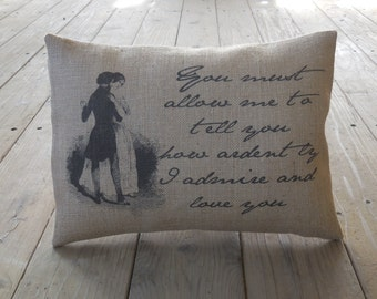 Jane Austen Burlap Pillow, literary gift, Pride and Prejudice, Farmhouse Pillows, Love28,  INSERT INCLUDED