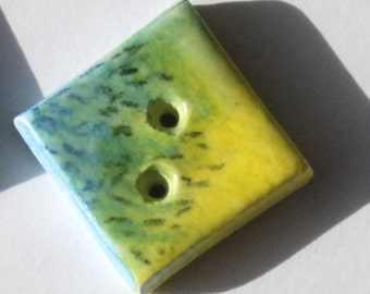 Ceramic Buttons, Square buttons, 3, buttons, Garden green, Hand crafted, Couture sized Large