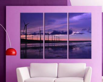 Wind turbine Wind-driven generator Canvas Print Wall decor Art Multi Panel canvas Wall Canvas wall art Set Living room decor