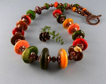 Orange Brown Green Yellow and Red Copper and Maple Turquoise Gemstone Necklace with Free USA Shipping