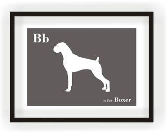 Boxer Print - Dog Art - Alphabet Breed Silhouette Boxer