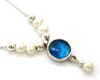Roman Glass Round Pendant, Small Round Pendant, Blue Roman Glass Pendant, Small Round Silver Pendant, Bat Mitzva Gifts