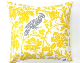 18x18 Decorative Pillow Cover. Birds and Flowers in Yellow, Grey and White