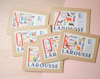 Larousse print > framed * French vintage * Christmas gift * Old school * Antique print