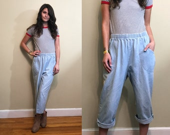 Vintage 1990's Briggs High/Stretch Waist Light Wash Curvy Cropped Mom Jeans Size Large
