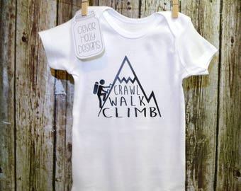 "Rock Climbing Onesie • Mountain Climbing Bodysuit • ""Crawl Walk Climb"" (long sleeve or short sleeve bodysuit)"