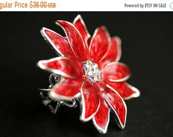 MOTHERS DAY SALE Poinsettia Flower Ring. Christmas Ring. Rhinestone and Resin Poinsettia Ring. Silver Plated Adjustable Ring. Christmas Jewe