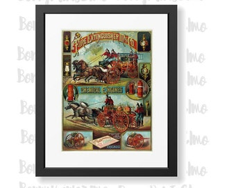 Fire Extinguisher Poster, Vintage Firemen Art, Fire Engine Poster, Firefighter Gift, Man Cave Decor, Fire Department Decor, Fathers Day gift