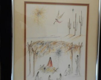 "Ted DeGrazia sketch signed, framed and matted, ""A Midnight Christmas in Arizona,"" Western art, DeGrazia, American Indian art, vintage art"