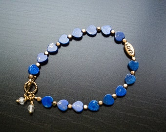 My Blue Heart Bracelet (0067BR) Blue Lapis Beads, Heart Jewelry, Gifts For Her, Gold Jewelry, Quartz, Valentine's Day, Love, Anniversary