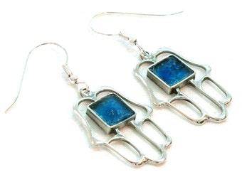 Roman Glass Dangle Earrings, Judaica Silver Earrings, Blue Hamsa Earrings, HolyLand Hamsa Earrings, Hand Of Luck Earrings