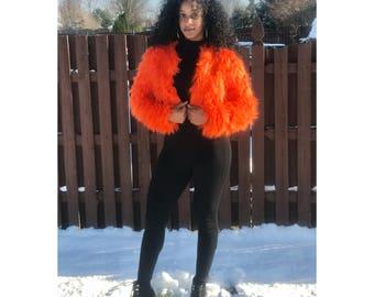 AS Orange Faux Fur Jacket