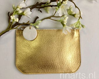 Leather purse / coin wallet ZIPP in gold grained leather. Gold cosmetic bag. Personalised purse. Gift for her