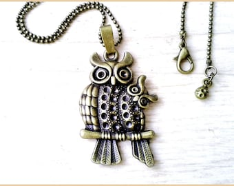 Necklace ball chain bronze metal OWL pendant