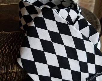 Black Tie Affair- White & black check- Equestrian Stock Tie