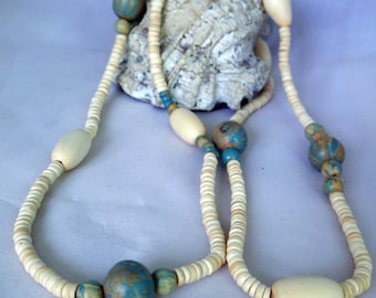 Wooden round beads necklace - Gray blue, cream, round  & disc beads - long necklace - multiuse - wrapped - multilayered bracelet - gift idea
