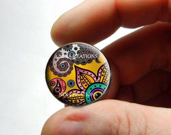 Glass Cabochon - Art Deco Floral Design 6 - for Jewelry and Pendant Making