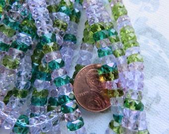 Lavender Garden Mix Faceted Flat Rondelle Czech Beads, 50 Beads - Item 3346