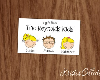 Kids Calling Cards or Stickers, Kids Gift Inserts Enclosures, Personalized Kids Gifts, Gift Tags or Stickers