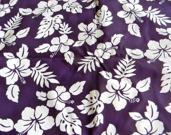 NEW!!!  Hawaiian Print - Purple Background with White Hibiscus Print