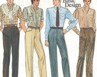1980s Mens Pants With or Without Cuffs Vogue Sewing Pattern 1270 Size 42 UnCut Mens Slacks Vogue Basic Design Pattern