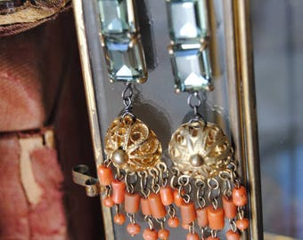 Mediterranean Glitter--Vintage Brass Filigree Natural Coral Bohemian Victorian Chandeliers Faceted Glass Links EARRINGS