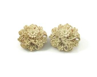 Floral Carved Bone Clip On Earrings Vintage Earrings Flower Earrings Antique Earrings Carved Earrings Detailed Earrings Hand Made Earrings