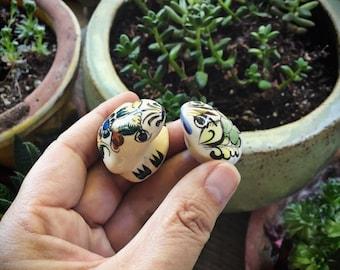 Vintage Ceramic Miniature Frog Figurines Tonala Pottery Toads, Mexican Folk Art