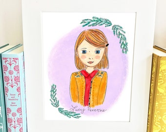 Lucy Pevensie Print - Chronicles of Narnia Print -  Nursery Wall Art - HLP