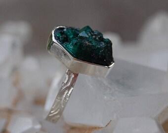 DIOPTASE,Raw Dioptase RING,  Dioptase Ring- rough Dioptase, Sterling Silver, 925 SILVER, Gemstone ring, raw gemstone-raw Dioptase ring