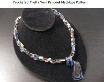 Crocheted Trellis Ladder Yarn Pendant Necklace PATTERN