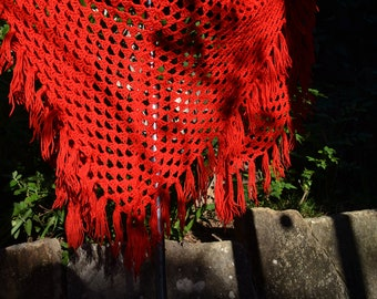 Large Red VINTAGE 70s BOHEMIAN SHAWL / crochet boho open poncho / knitted blanket couch throw