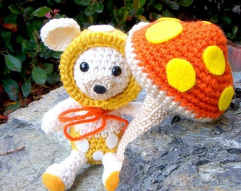 Amigurumi patterns - Baby Mushroom Bear and His Big Mushroom - 2 Crochet Amigurumi animal patterns included /PDF
