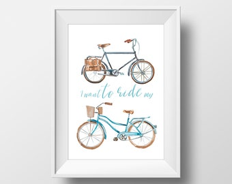 Wall Art Watercolor Vintage Bicycles Print,Vehicle,Activities,Home Decorations,Sport,Living Room,Boys Room,Poster,Printable,Party Decor