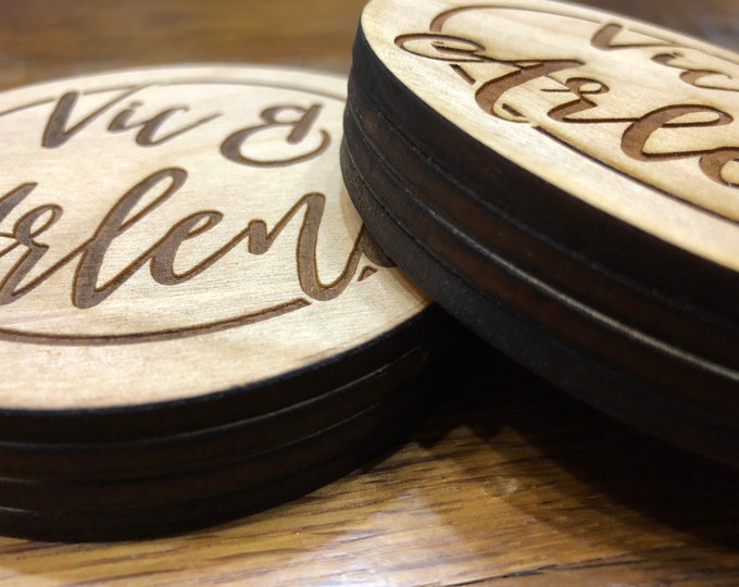 "Personalized 4""x4"" Round Laser Cut Custom ""Two-Name"" Drink Coasters 'Pack of 8' Wedding/ Birthday Present Birch Plywood Air and Sea Studio"