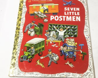 Seven Little Postmen by Margaret Wise Brown. Little Golden Book. Illustrated by Tibor Gergely. Vintage book circa 1980. Children's gift.