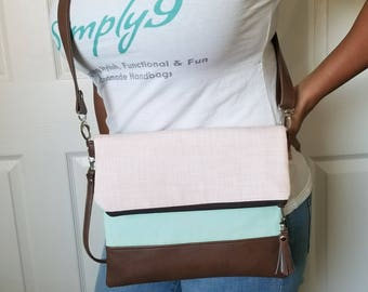 Pink Crossbody Bag, Crossbody Purse, Green Crossbody, Crossbody Strap, Brown Faux Leather, Clutch Bag, Crossbody Handbag, Mothers day gift