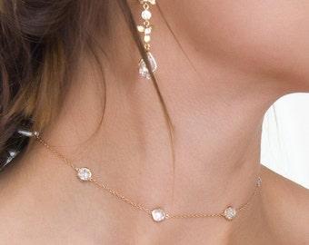 Choker Necklace, Dainty Gold Chain Choker, Delicate Gold Bohemian Jewelry, Crystal Choker Necklace, Layering Choker, Dainty Choker N063-G