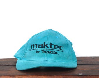 Vintage 90's Distressed Trashed Mactec by Makita Electric Power Tools Strapback Hat Baseball Cap