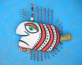 Gangster Fish VII, Original Found Object Wall Sculpture, Wood Carving, Wall Decor, Animal Sculpture, Figure Sculpture