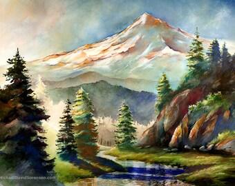 In the Wild - Mt. Hood, Oregon. Watercolor Painting Print by Michael David Sorensen. Mount Hood. Mountain. Trees. Stream. Pacific Northwest.