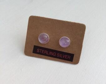 Pale Amethyst and Silver stud earrings