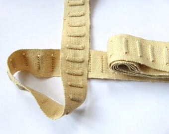 Ecru cotton old Ribbon to loop