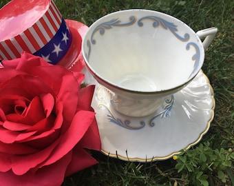 Syracuse Teacup and Saucer Fine Bone China USA Made Porcelain Cream Swirl Dove Blue Gold Rim Art Deco Styling