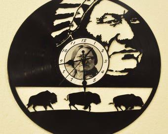 Native Americans- Buffalo vinyl record clock **FREE SHIPPING**