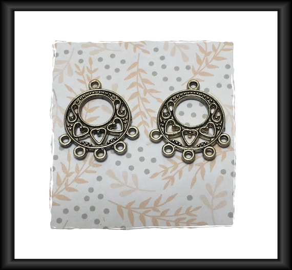 Antique Silver Heart Theme Chandelier Earring Components 25 x 22 mm - 1 pair